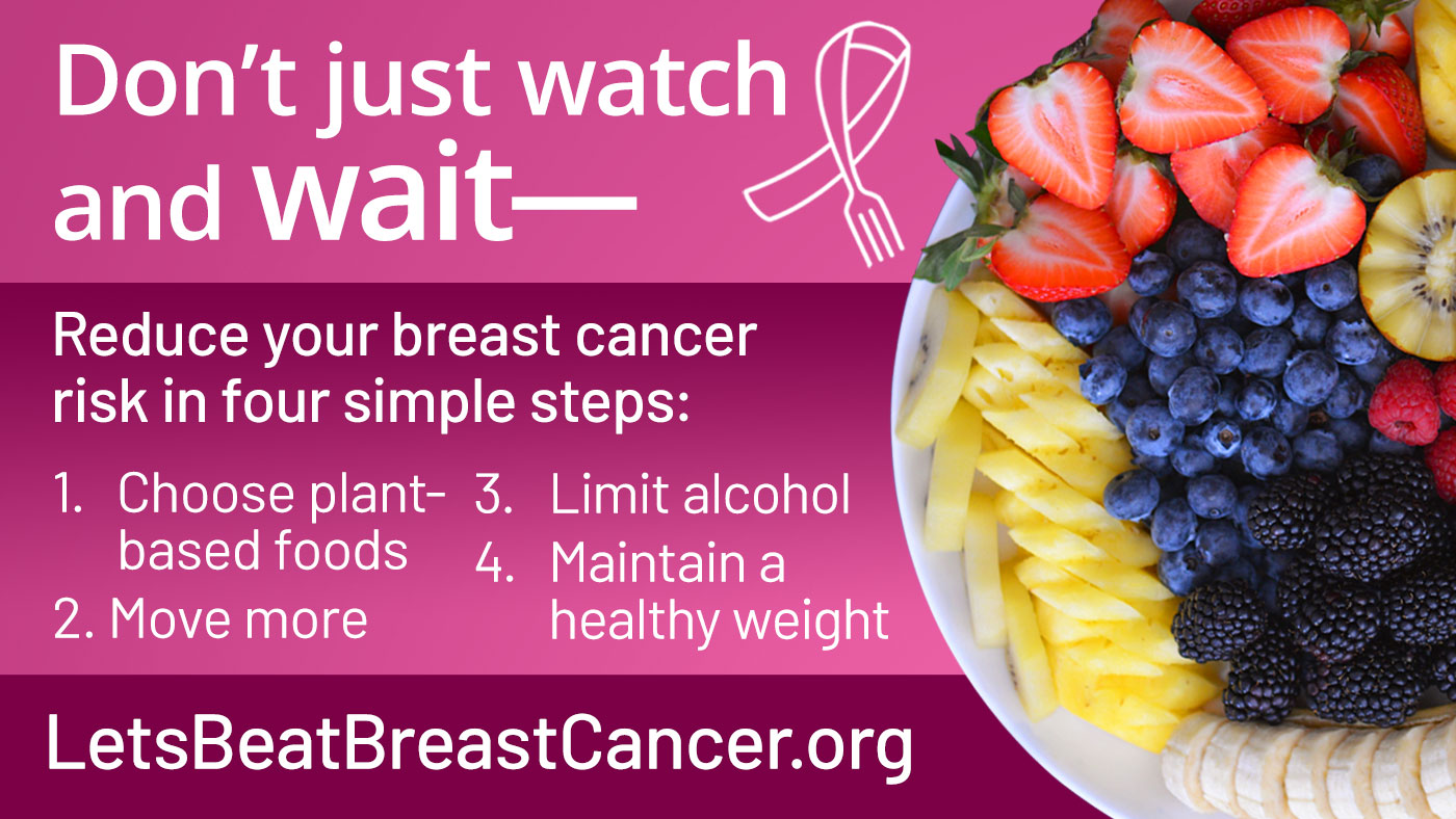 The image says 'Don't just Watch and Wait Follow the 4 simple steps to reduce your risk of breast cancer